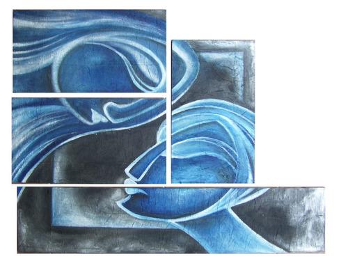 cuadros modernos abstractos, rostros. trípticos, óleos
