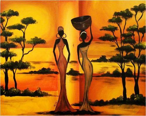 cuadros modernos africanos - pintados a mano - originales