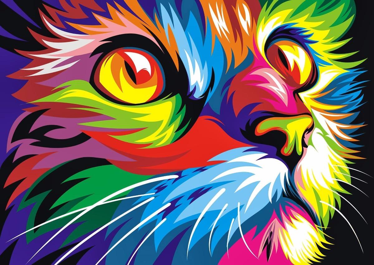 Cuadros Modernos Animales Selva Decoración Full Color - Gato - $ 275 ...