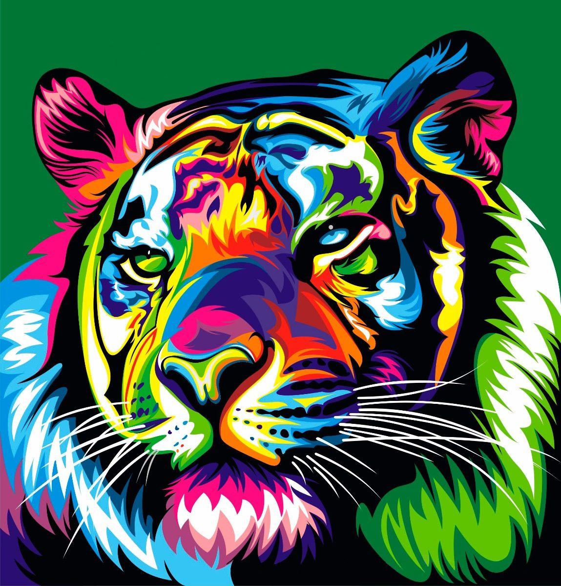 Cuadros Modernos Animales Selva Decoración Full Color Tiger - $ 225 ...