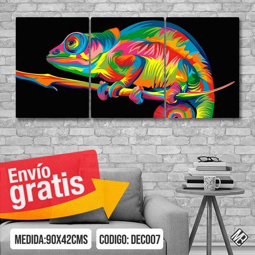 cuadros modernos animales tripticos 90x42cms catalogo
