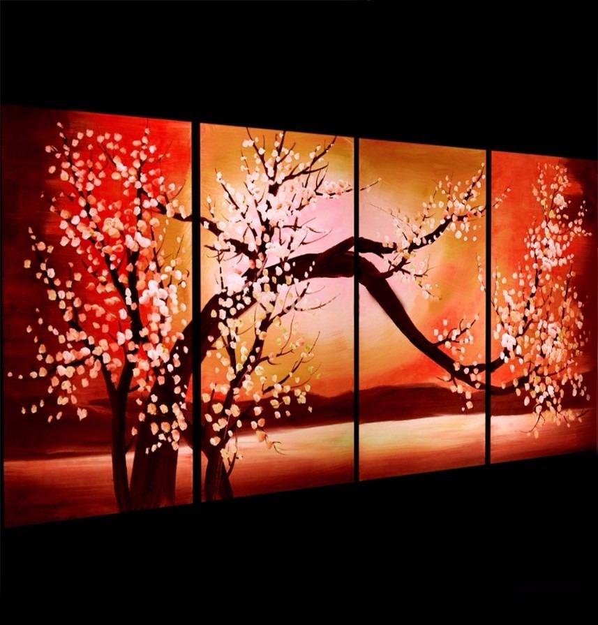 cuadros modernos arboles grandes oficina living tripticos