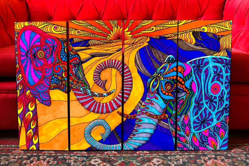 cuadros modernos artesanales elefantes surrealismo