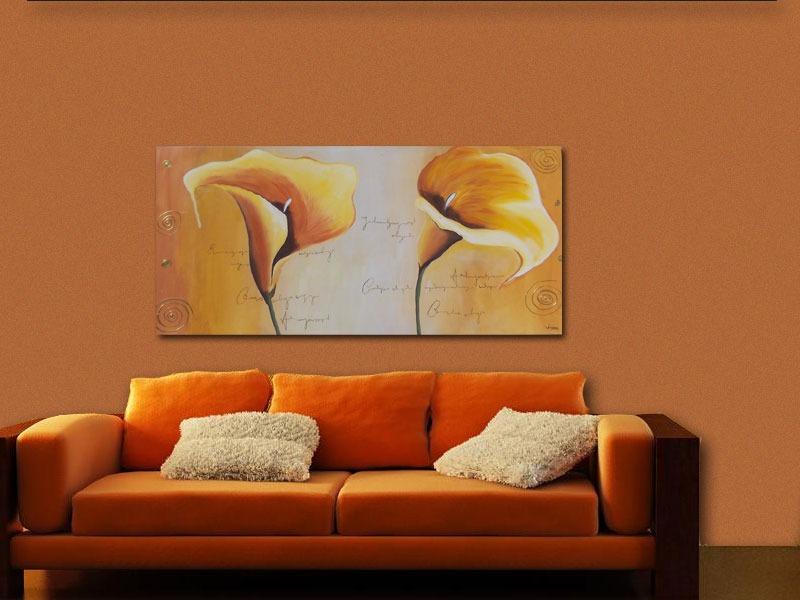 Cuadros modernos con flores minimalistas pintados a mano - Pintar un cuadro moderno ...