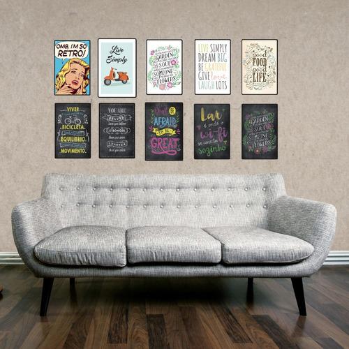 cuadros modernos decorativos madera 19x29cm frase blanca