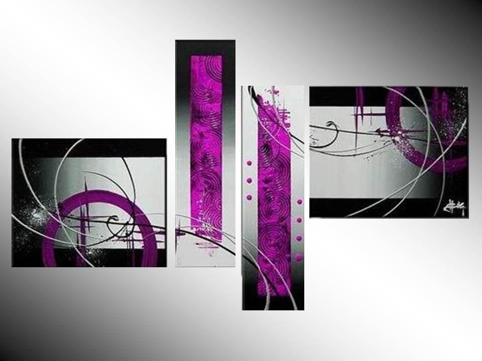 Cuadros modernos en lila fuxia rosa morado tripticos s 390 00 en mercado libre - Triptico cuadros modernos ...