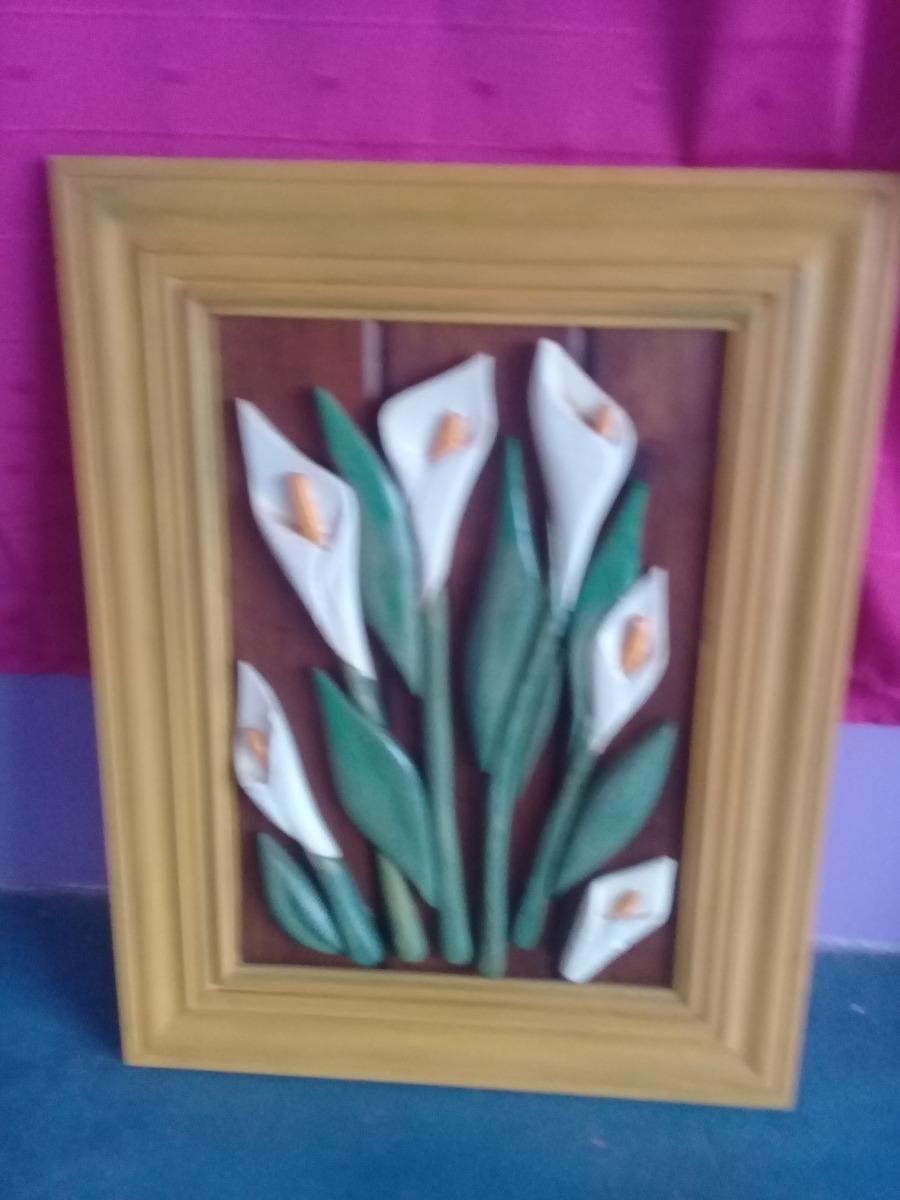 Cuadros Modernos Flores En Relieve Madera 48 X 37 45000
