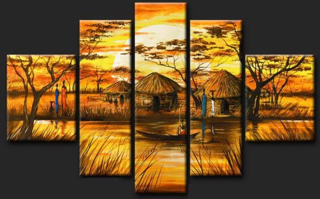 cuadros modernos paisajes africanos texturado tripticos