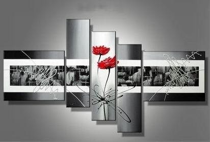 Cuadros modernos rojo gris blanco negro s 390 00 en for Fotos de cuadros abstractos minimalistas