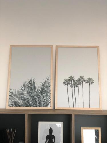 cuadros modernos set x2 marco + vidrio 40x60 inhale exhale 2