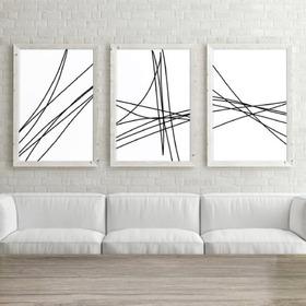 Cuadros Modernos Set X3 40x60 Abstracto + Vidrio + Marco