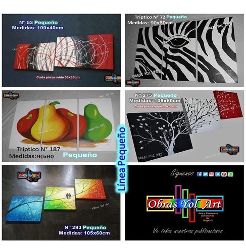 cuadros modernos, trípticos, abstractos obras yol art