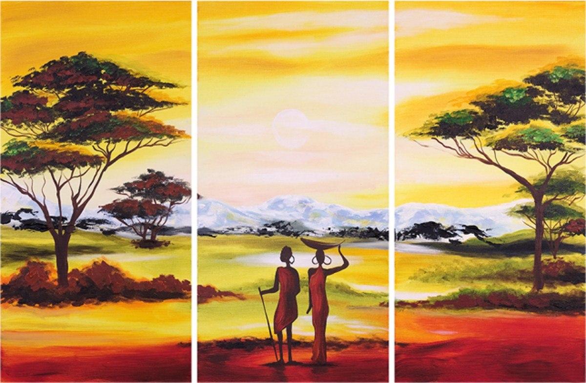 cuadros modernos trpticos africanos texturados