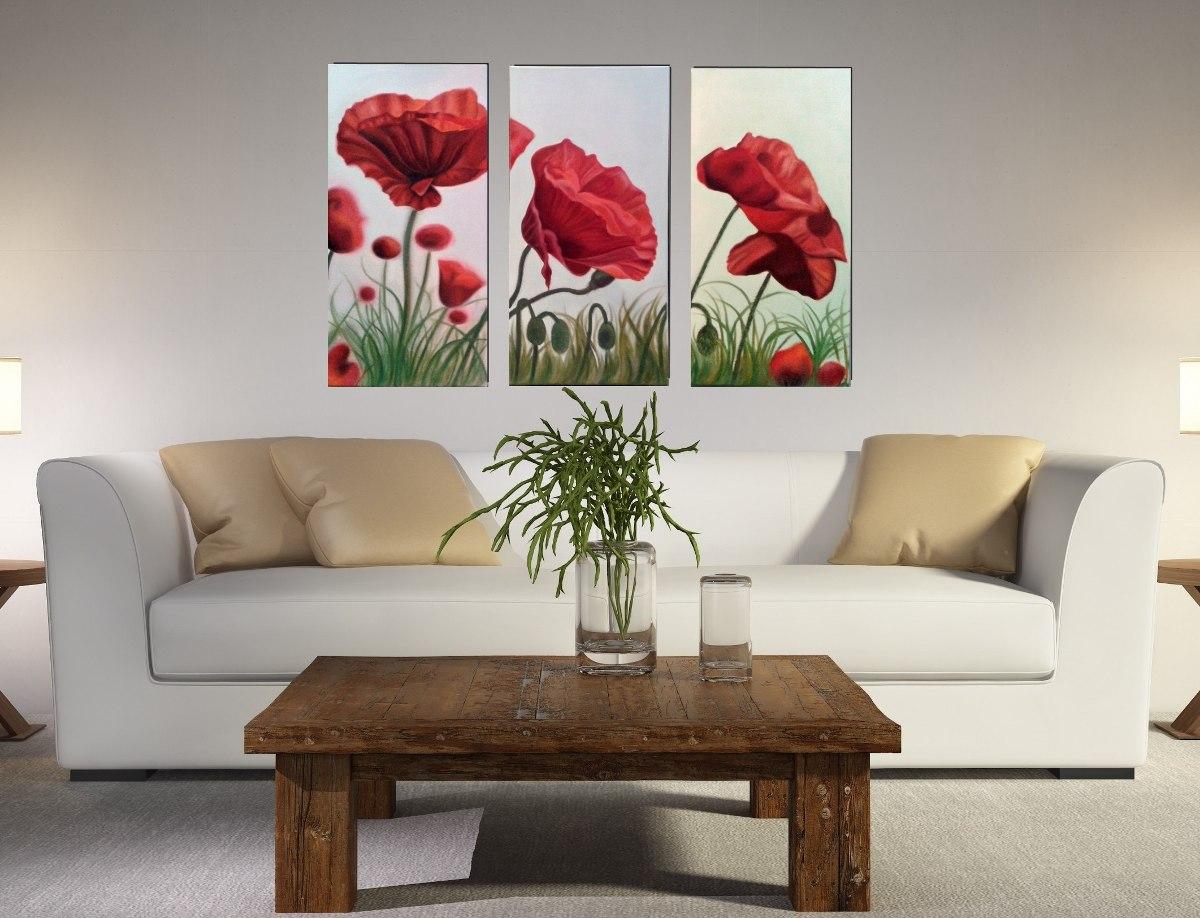 Cuadros modernos tr pticos d pticos florales abstractos - Cuadros florales modernos ...
