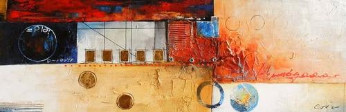 cuadros modernos trípticos lienzo en oleo 120x40cm!!!