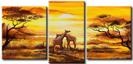 cuadros modernos tripticos paisajes africanos