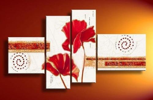 cuadros modernos tripticos polipticos florales textura