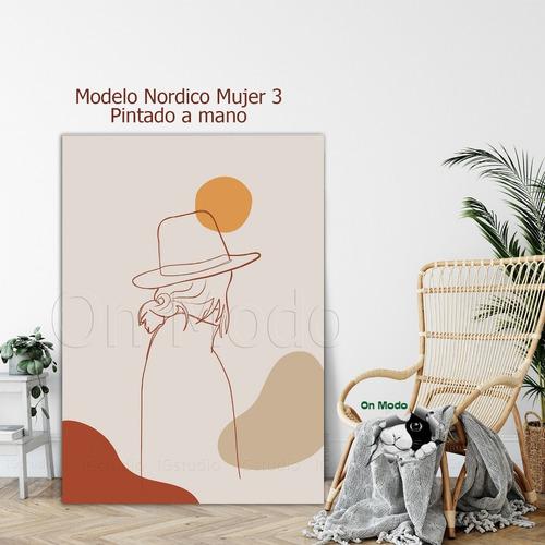 cuadros nordicos pintados a mano siluetas mujer modernos