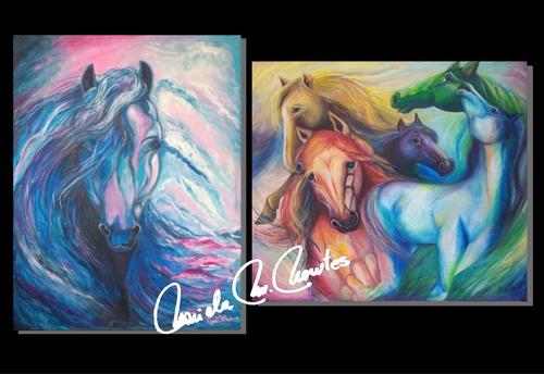 cuadros oleo acrilico caballos color modernos