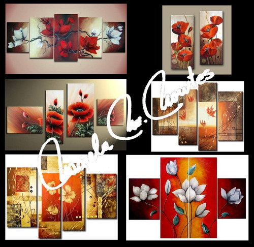 cuadros oleo acrilicos a mano polipticos, tripticos flores