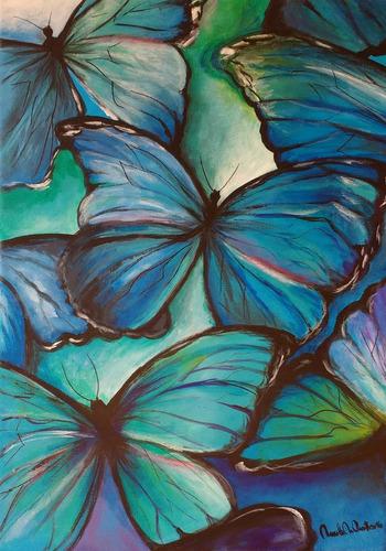 cuadros oleo acrilicos a mano polipticos, tripticos mariposa