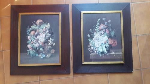 cuadros originales de flores sobre madera bellisimo  marco