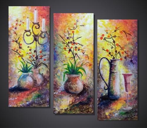 cuadros originales pintura a mano calas amapolas