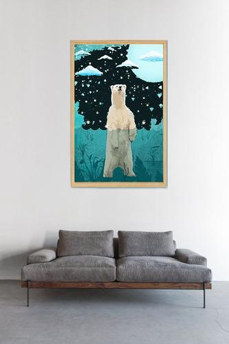 cuadros oso nordicos lamina enmarcada modernos arte roggero