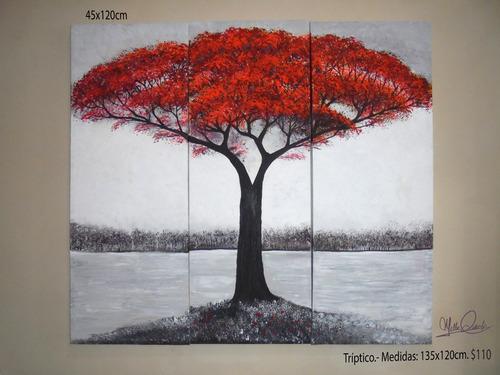 cuadros otoños árboles de colores.espatulados senderos.