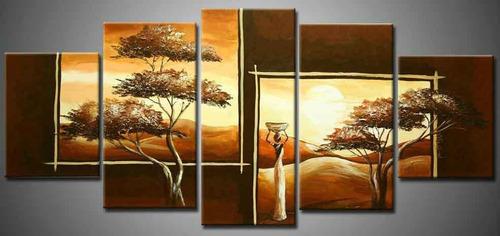 cuadros paisajes africanos modernos polipticos