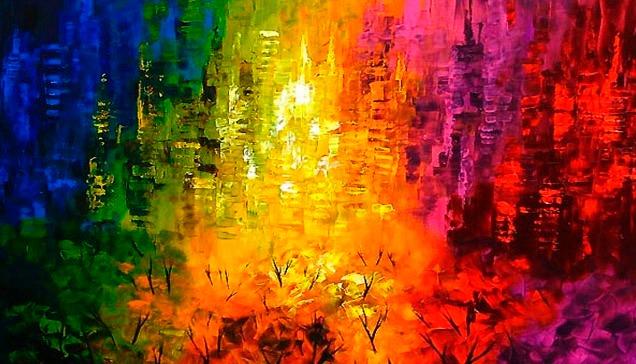 cuadros paisajes coloridos 1 en mercado libre