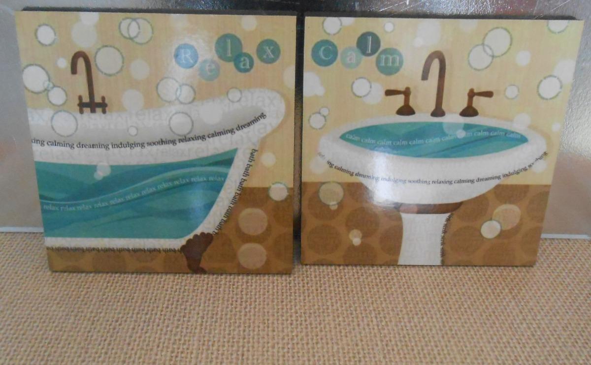Cuadros para decorar el ba o 20x20 vinilo madera 2 piezas - Cuadros para decorar el bano ...