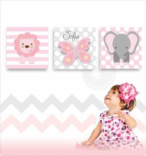 cuadros para niña bebes 25x25cm/ obsequio 100 estrellas deco