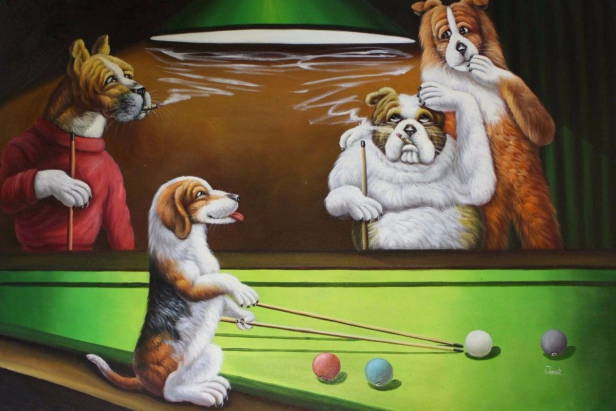 Cuadros Perros Jugando Al Pool Poker Billar 15x20 119 99 En