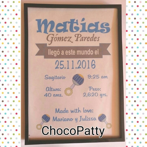 cuadros personalizados: recien nacido - clinica- baby shower