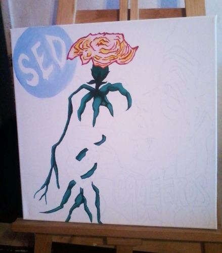 cuadros pintados a mano musica callejeros rock and roll