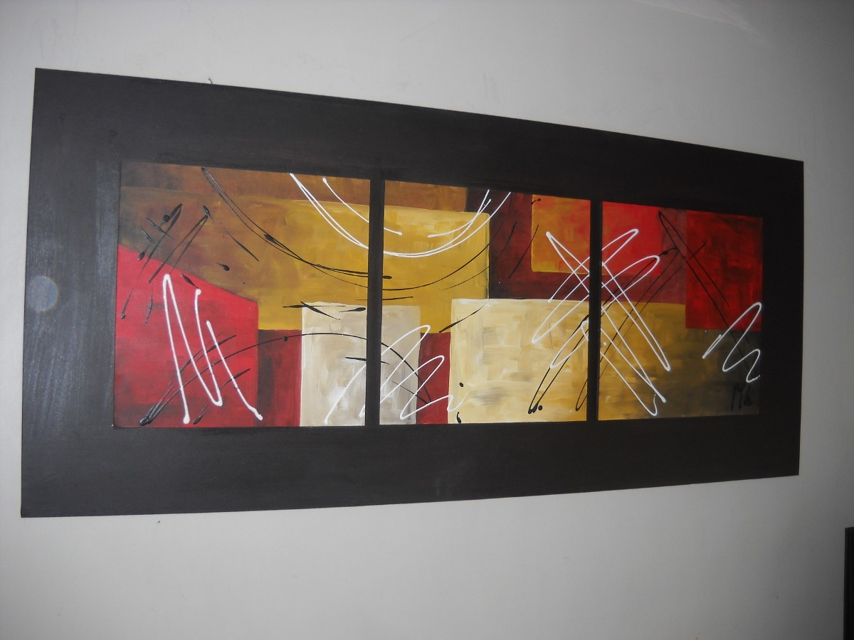 Cuadros Pintados A Mano Rectangulares De Flores Y Abstractos - $ 750 ...