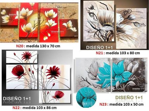 cuadros pintados flores modernos texturas diseño 1+1