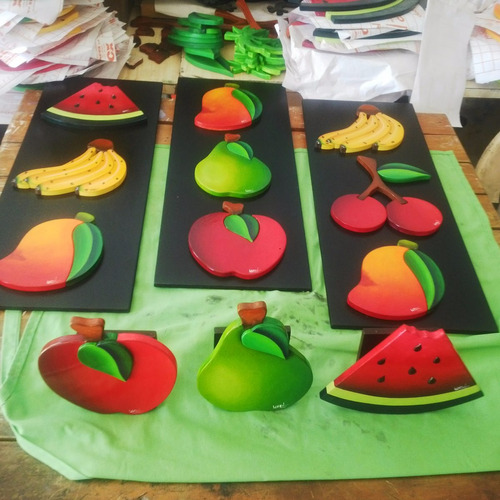cuadros pintura sobre madera frutas cocina arte (56 x 21 cm)