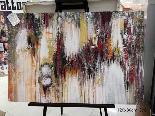 cuadros pinturas abstractos difuminados neutros azules rojos