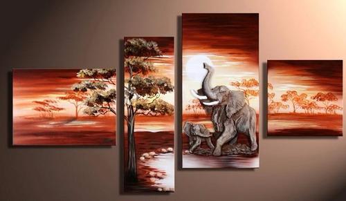 cuadros polipticos, paisajes africanos, pintados a mano
