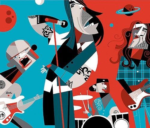 cuadros rock stars estilo picaso