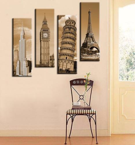 cuadros torres famosas 30 cm x 90 cm en tela canvas