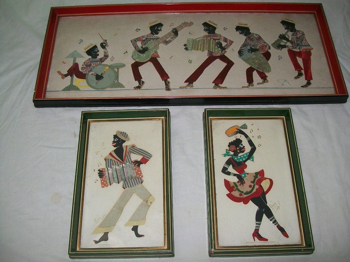 Cuadros (tres) Collage, Músicos. Marcos De Madera Y Vidrio. - $ 800 ...
