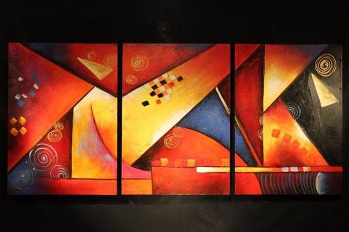 Cuadros triptico abstracto colores en mercado for Donde puedo comprar cuadros