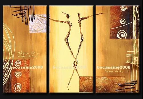 cuadros: tríptico abstractos: 3 de 25 x 50 cm