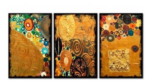 cuadros triptico abstractos modernos klimt