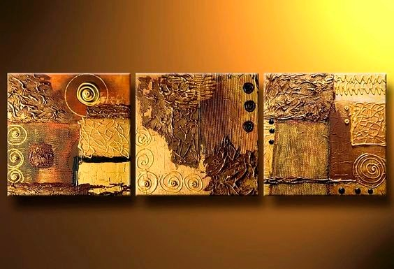 Cuadros triptico abstractos modernos poliptico dorados ocres en mercado libre - Triptico cuadros modernos ...
