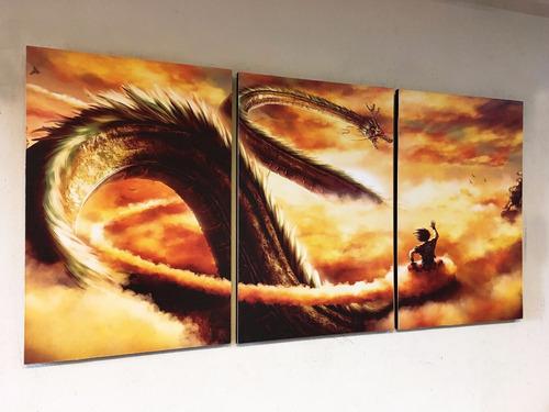 cuadros triptico dragon ball z goku y shen long l 80x40 cm