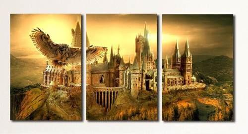 cuadros - triptico hogwarts harry potter b l (tot 80x40 cm)